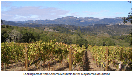 Looking across from Sonoma Mountain to the Mayacamas Mountains