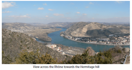 View across the Rhône towards the Hermitage hill
