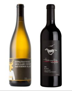 From left: Zepaltas Sauvignon Blanc; Hawk and Horse Cabernet Photographer: (from left) James Henderson/Zepaltas Wines; Hawk and Horse Vineyards