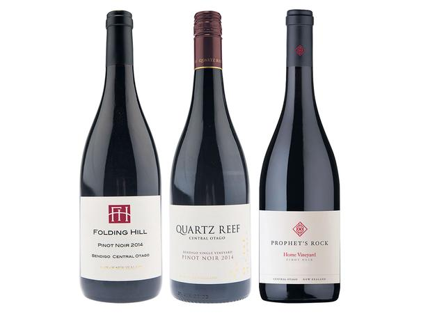 Folding Hill Central Otago Pinot Noir; Quartz Reef Single Vineyard Bendigo Pinot Noir; Prophet's Rock Central Otago Pinot Noir. Pictures / Supplied.